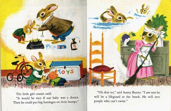 Bunny Book, Richard Scarry, doctor, lifeguard