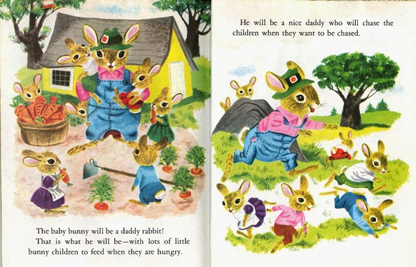 Bunny Book, Richard Scarry, farmer, running, dad
