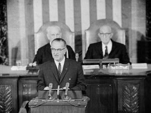 "Former U.S. President Lyndon B. Johnson declares a ""war on poverty"" – Jan. 8, 1964"