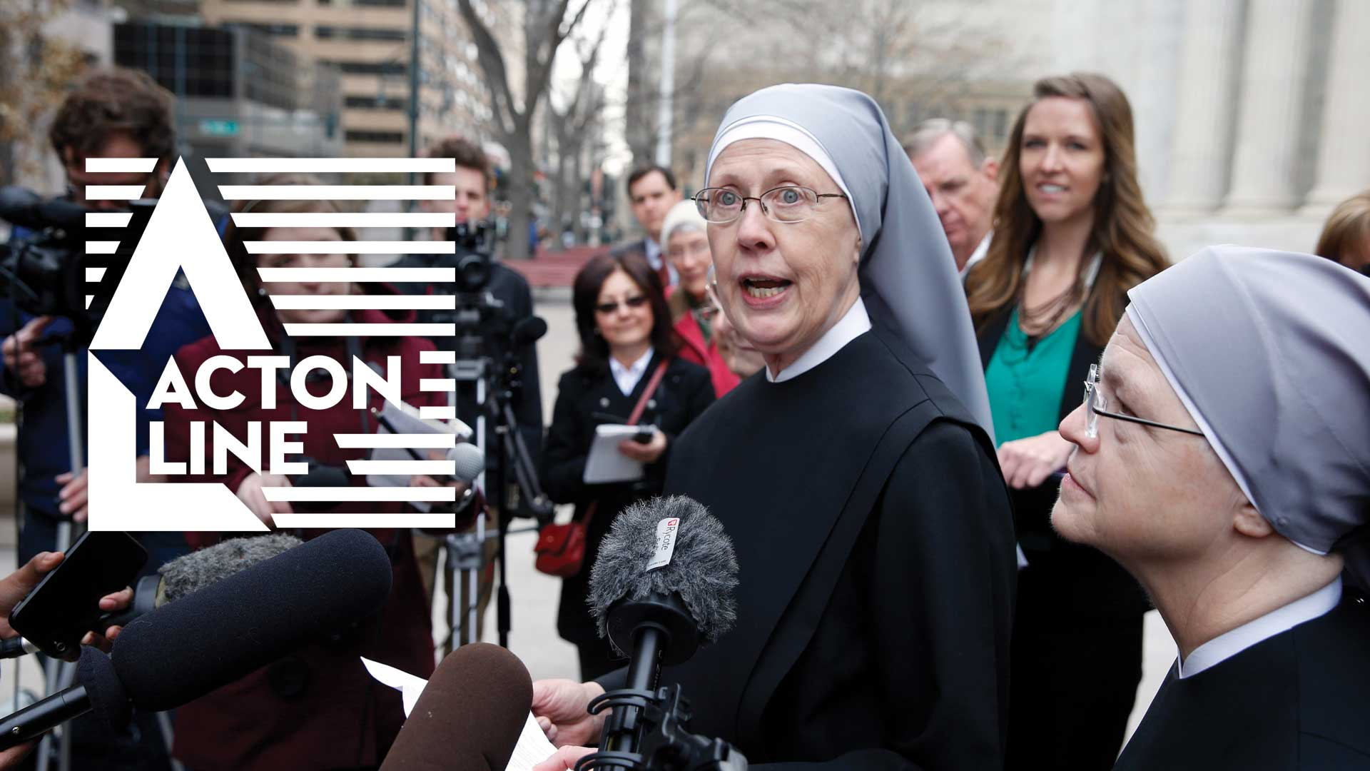 Little Sisters of the Poor give a statement to the press outside of a court building